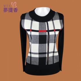 2014春季新款 时尚假两件妈妈装长袖针织衫