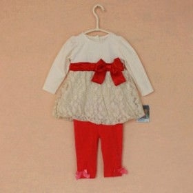 女宝宝纯棉色二件套装韩版女童公主T恤长袖连衣裙子