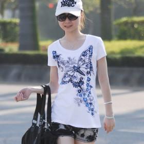 大码女装胖MM夏装新款加肥加大短袖T恤上衣