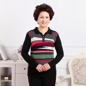 梦提香 春季新品妈妈装 中老年长袖女装T恤