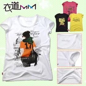 【天天特价】 全棉女士个性糖果色潮人卡通印花短袖T恤