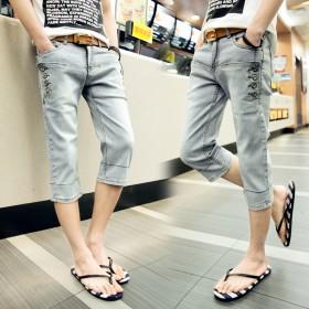 夏季薄款男士牛仔短裤男7七分裤男潮流版男裤子