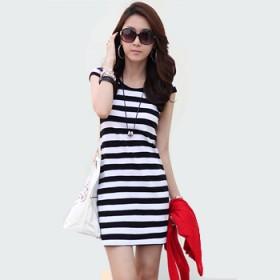 夏季女装新款包臀修身显瘦大码条纹连衣裙子一步裙包裙