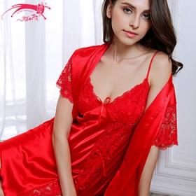 猫和才女夏季新品女士蕾丝刺绣仿真丝吊带睡袍两件套