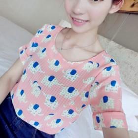 夏季短袖小清新雪纺衫