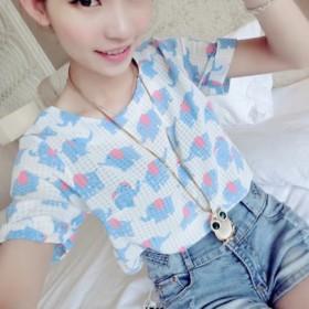 夏季必备小方格大象图案印花短袖雪纺衫女式T恤潮上衣