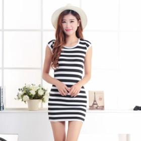 2014夏季韩版修身显瘦牛奶丝条纹连衣裙