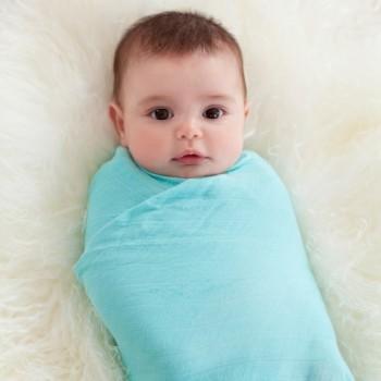 【包邮】 婴儿竹纤维纱布包巾新生儿包巾宝宝襁褓浴巾美国原单