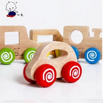 【包邮】 一点正品儿童益智早教玩具全实木手推小汽车