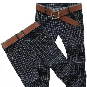英伦西裤格子小脚裤男修身长裤子