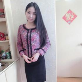 女装韩版时尚修身粗花呢短外套