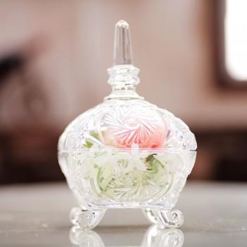 【包邮】 欧式雕花玻璃收纳罐客厅装饰摆件