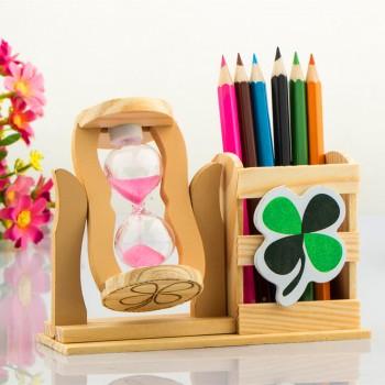 木质笔筒 创意笔架 沙漏摆件
