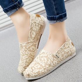 蕾絲帆布鞋 夏季套腳休閑鞋低幫鞋