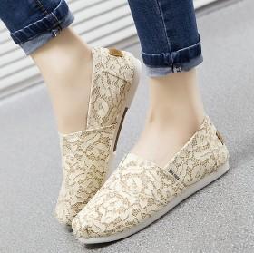 新款2015蕾絲帆布鞋鞋低幫透氣懶人鞋布鞋女