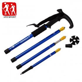 品牌户外轻四节登山杖徒步健身旅行装备可伸缩手杖