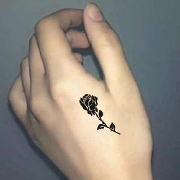 【包邮】 纹身贴纸 虎口手背男女款简约玫瑰花刺青大图案贴纸