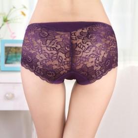 2 条中腰性感诱惑蕾丝镂空女士内裤