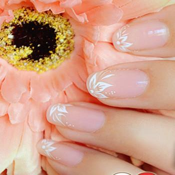 环保美甲贴纸简约法式白色花朵水印指甲油贴