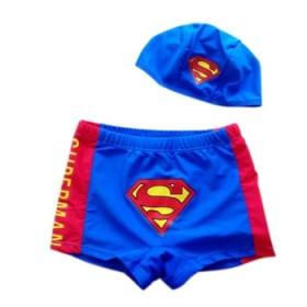 小人泳裤 男童游泳衣 儿童平脚泳裤泳帽2件套