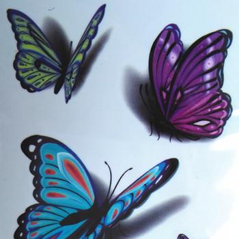 【包邮】 防水纹身贴纸 3d立体彩色蝴蝶 小清新图案刺青纹身