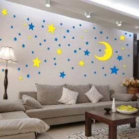 亚克力星星月亮儿童房墙贴