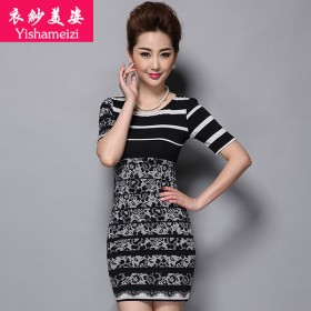 衣纱美姿中年女装夏季新款妈妈装无袖裙子大码连衣裙