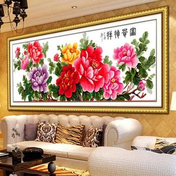 十字绣精准印花开富贵客厅新款一品天香富贵牡