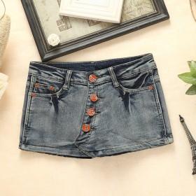 夏装新款韩版排扣显瘦牛仔短裤裙热裤