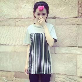 2015夏季新款韩版t恤女夏 百搭条码数字短袖字母