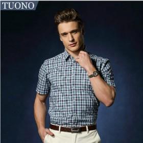 TUONO新款春夏男士短袖衬衫格子衬衣潮修身