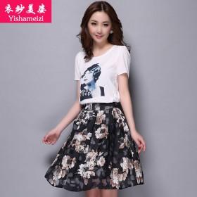 衣纱美姿韩版女装两件套连衣裙碎花裙流行夏装妈妈装