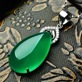 纯天然绿玉髓吊坠纯银项链925银镶嵌天然冰种