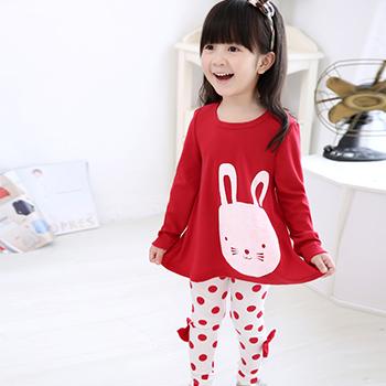 伊诺小镇女童秋季公主可爱卡通小兔兔上衣圆点裤子套装