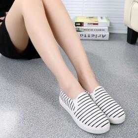 夏季新款女士帆布鞋透氣女鞋休閑韓版低幫鞋白色條紋潮