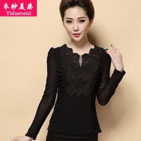 衣纱美姿秋装新款V领黑色蕾丝衫打底衫特价网纱上衣