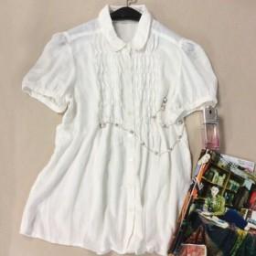 短袖衬衫女夏白色百搭娃娃领宽松上衣纯棉麻韩国学院风