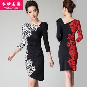 衣纱美姿妈妈装连衣裙2015秋季新款黑白玫瑰印花裙