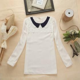 秋装新款娃娃领雪纺衫女韩版宽松显瘦打底衫