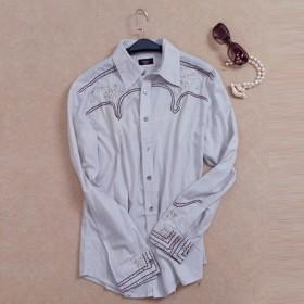 衬衫女长袖秋百搭纯棉钉珠常规修身显瘦衬衣外贸原单上