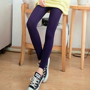 【魅瑟】弹力加绒纯色棉显修身小脚打底裤长9分裤