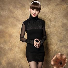 衣纱美姿韩版秋装新款钉珠高领黑色打底衫网纱长袖上衣
