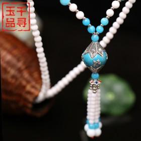 天然砗磲佛珠项链长款民族风女毛衣链