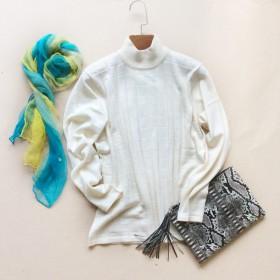 套头毛衣女修身加厚羊毛衫纯色高领针织衫长袖羊绒衫女