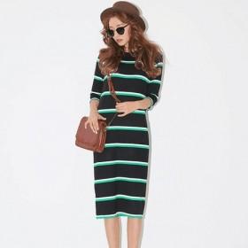 复古条纹针织裙长款T恤裙中袖连衣裙