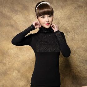 衣纱美姿韩版秋装新款钉珠高领长袖黑色打底衫上衣