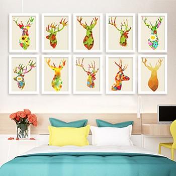 麋鹿小清新装饰画北欧风格客厅有框挂画卧室儿童房
