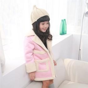 2015冬装韩版女童中长款后背兔子麂皮绒儿童外套潮