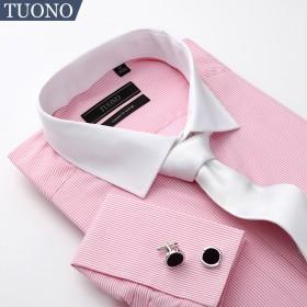 Tuono男士轻奢长袖法式衬衫 异色领时尚纯棉衬衣