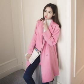夏梵尼韩国2015毛呢大衣气质中长款毛呢外套女